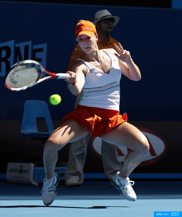 Alize Cornet of France on her way to a two sets to one victory over Daniela Hantuchova during the Australian Tennis Open on January 23, 2009 in Melbourne, Australia. Photo Tim Clayton    .