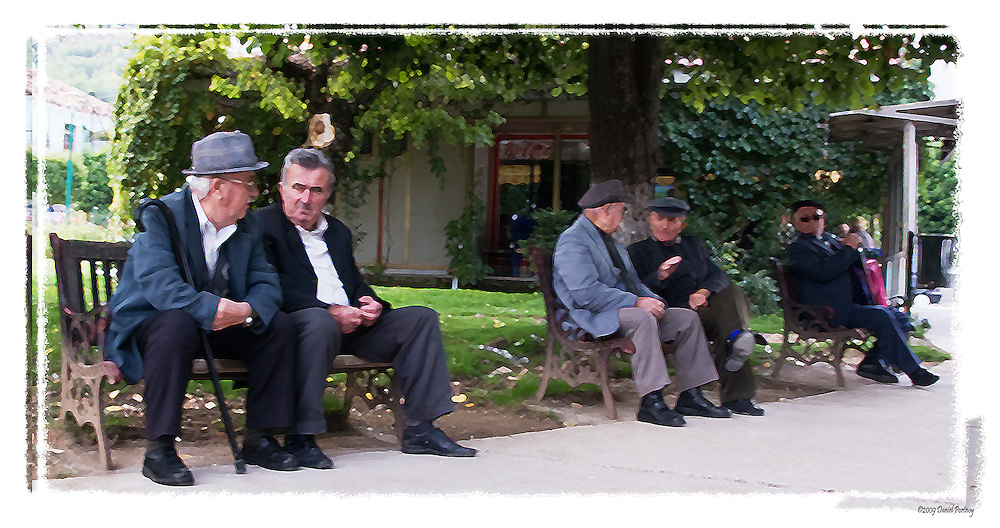 Old men on park bench in Permet Albania