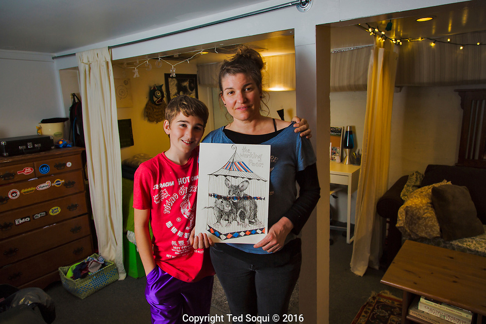 Melissa Jones and her twelve year old soon living inside a basement apartment in Forestville, CA.<br /> The low ceiling windowless apartment is cramped and dingy with black mold. Melissa works full time and spends up to 75%of her paycheck on housing.