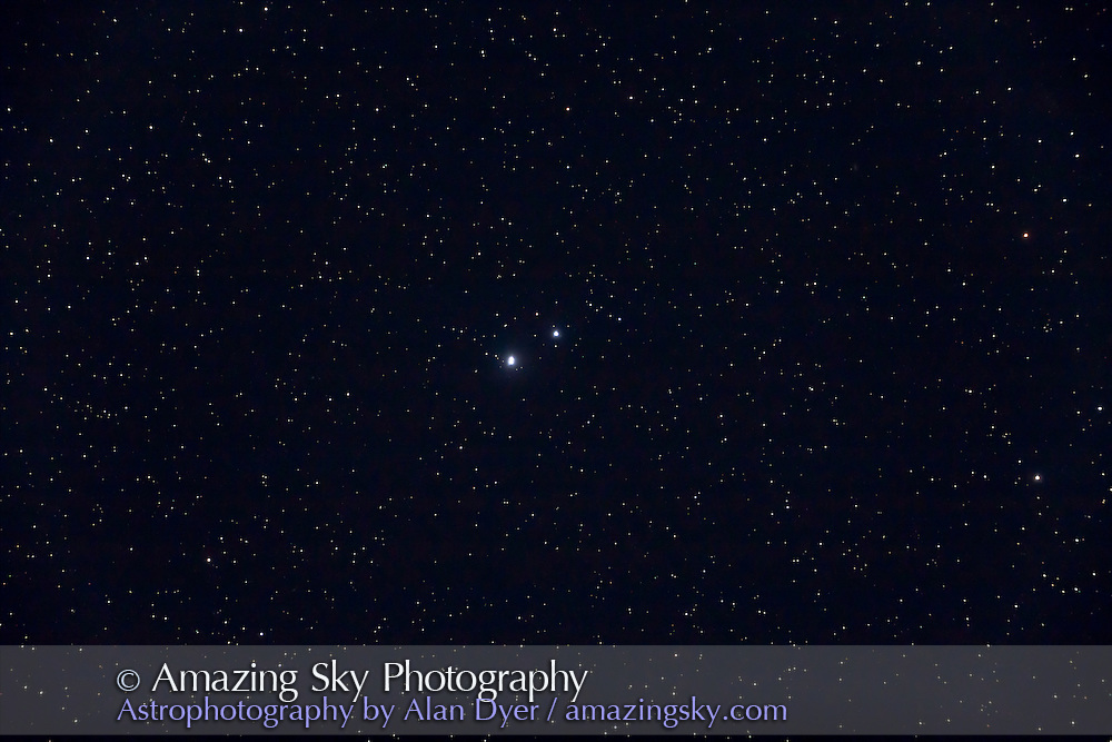 Triple star Beta Tucanae, consisting of close pair (sep 27&quot;) of nearly equal brightness stars plus a third more distant companion 10 arc minutes away and resolvable to the naked eye. <br /> <br /> Taken from Timor Cottage, Coonabarabran, NSW, Australia, December 12, 2010. This is a stack of 4 x 30 second exposures at ISO 2500 with Canon 5D MkII camera on 105mm Astro-Physics Traveler apo refractor at f/5.8 with 6x7 field flattener.