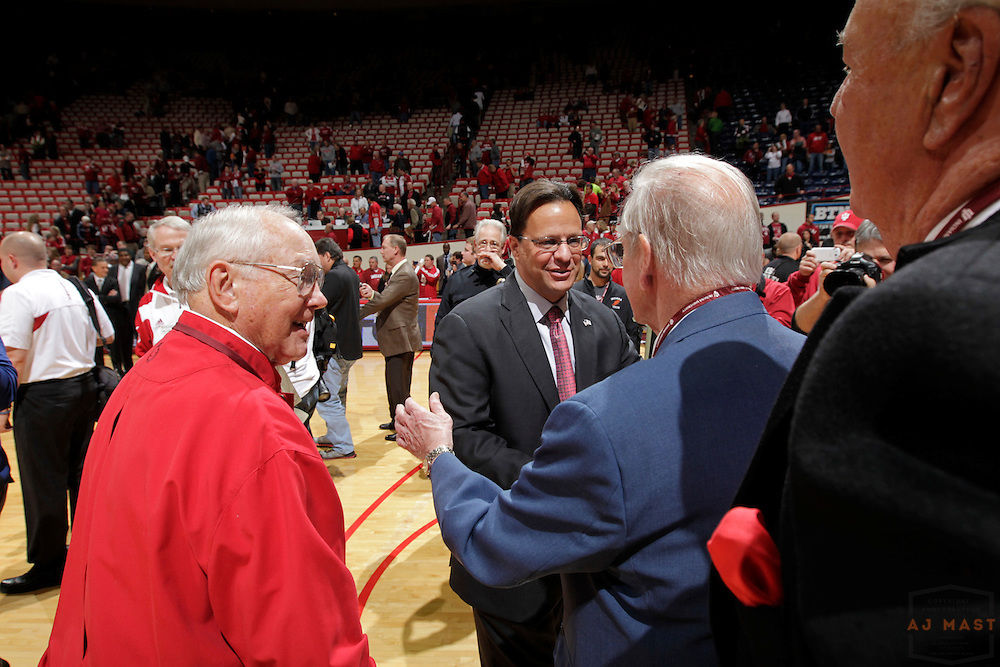 15 November 2012: Indiana head coach Tom Crean greets members of the members of the 1953 championship team after the Indiana Hoosiers played the Sam Houston State Bearkats in Bloomington, Ind.