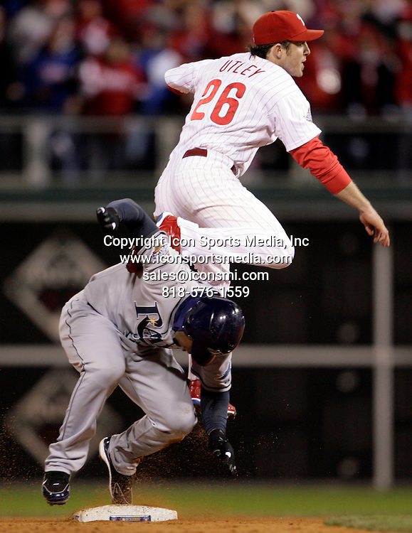 October 29, 2008 - Philadelphia, Pennsylvania, USA - CHASE UTLEY turns a double play in the 8th inning.  The Philadelphia Phillies and the Tampa Bay Rays resumed game five of the World Series at Citizens Bank Park on Wednesday, October 29, 2008 after the rain delay
