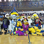 Washington Nationals Mascot -SCREECH, Philadelphia Eagles SWOOP Mascot, Baltimore Ravens Mascot Poe, Slapshot the Washington Capitals Mascot and Delaware Mascot UDEE pose for a photo during half time of a NCAA college basketball game against Northeastern Sunday, Feb. 26, 2012 at the Bob Carpenter Center in Newark, Del.