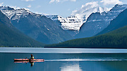 glacier national park, kayaker, fishing, bowman lake, red boat, boating, crown of the continent, montana, usa