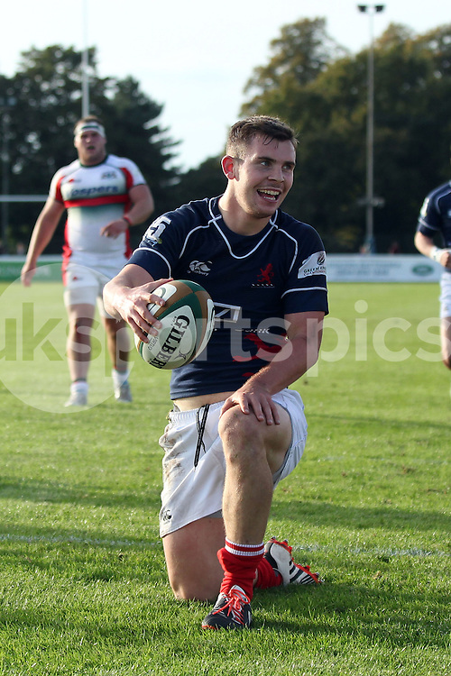 Jamie Stevenson scores during the Green King IPA Championship match between London Scottish &amp; Plymouth Albion at Richmond, Greater London on Sunday 5th October 2014<br /> <br /> Photo: Ken Sparks | UK Sports Pics Ltd<br /> London Scottish v Plymouth Albion, Green King IPA Championship,5th October 2014<br /> <br /> &copy; UK Sports Pics Ltd. FA Accredited. Football League Licence No:  FL14/15/P5700.Football Conference Licence No: PCONF 051/14 Tel +44(0)7968 045353. email ken@uksportspics.co.uk, 7 Leslie Park Road, East Croydon, Surrey CR0 6TN. Credit UK Sports Pics Ltd
