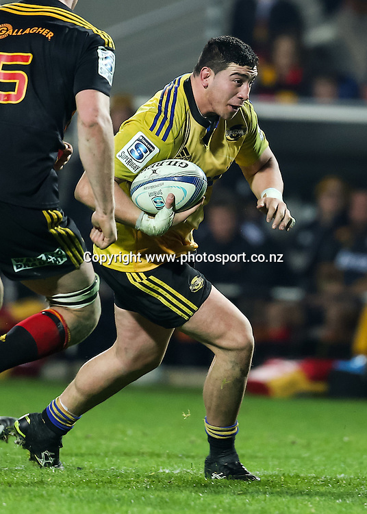 Hurricanes' Jeffery Toomaga-Allen in action during the Super 15 Rugby match - Chiefs v Hurricanes at Waikato Stadium, Hamilton, New Zealand on Friday 4 July 2014.  Photo:  Bruce Lim / www.photosport.co.nz
