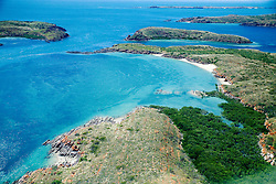 Mangroves line the shoreline on an isolated back in the Buccaneer Archipelago on the Kimberley coast.