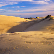 Shifting sand dunes on the Pacific Coast in California.