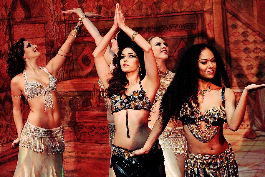 """The Bellydance Superstars perform at Benaroya Hall's Nordstrom Recital Hall in Seattle, Washington on January 30, 2007. The multi-ethnic company's United States tour """"Raqs Carnivale"""" infuses the traditional bellydancing forms with the choreography of samba, salsa and flamenco."""