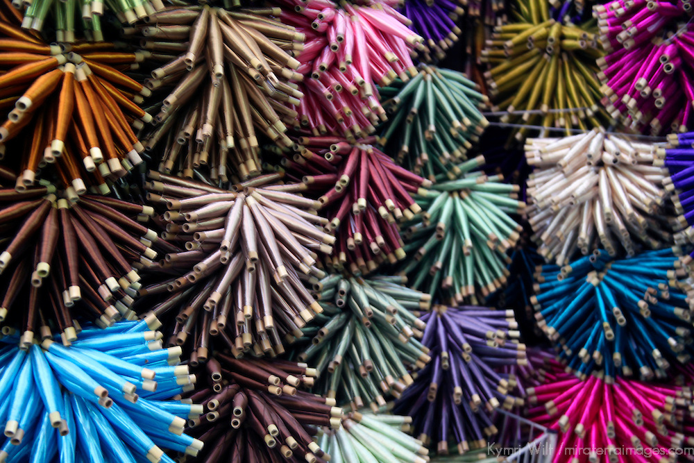 Africa, Morocco, Fes. Silk spools for weaving traditional Moroccan textiles.