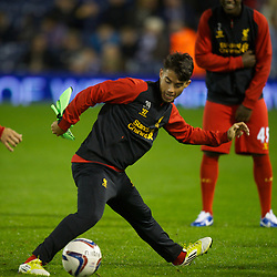WEST BROMWICH, ENGLAND - Wednesday, September 26, 2012: Liverpool's 'Suso' Jesus Joaquin Fernandez Saenz De La Torre warms-up before the Football League Cup 3rd Round match against West Bromwich Albion at the Hawthorns. (Pic by David Rawcliffe/Propaganda)
