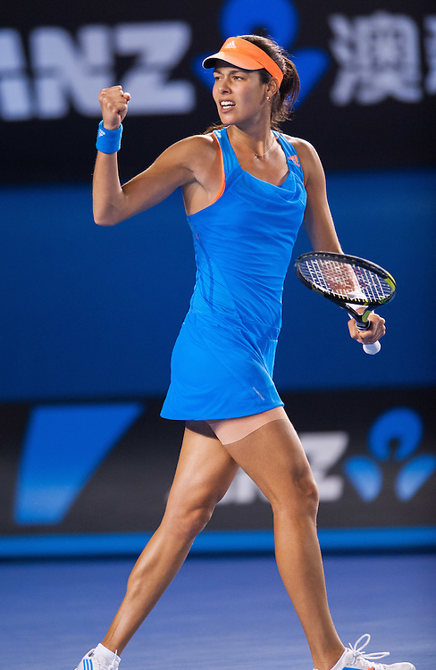 ANA IVANOVIC competes at the Australian Open. The Australian Open - a Grand Slam Tournament - is the opening event of the tennis calendar annually. The Open is held each January in Melbourne, Australia.