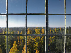 Hoodoo Fire Lookout window in the Umatilla National Forest, Blue Mountains, Oregon, USA