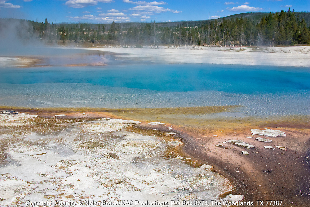 Geysers and Hot Springs in Black Sand Basin in Yellowstone National Park in Wyoming.