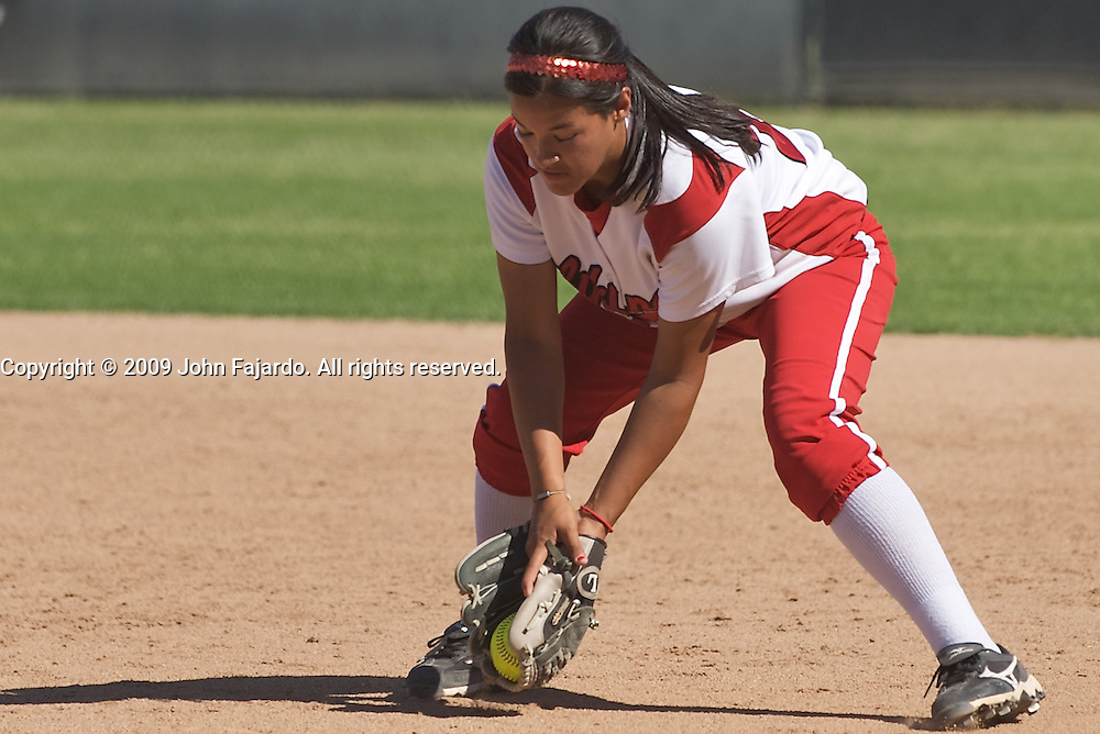 Alyssa Aguirre fields the ground ball in the game against Mt. SAC at the LAC softball field on Tuesday April 21, 2009.  The Vikings lose the final regular season home game 5-1.