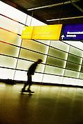 Skate boarding in the Postdammer Platz U-Bahn station.
