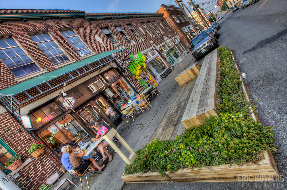"""Parklet"" at 18th and Wyandotte in Crossroads District of Kansas CIty, Missouri."