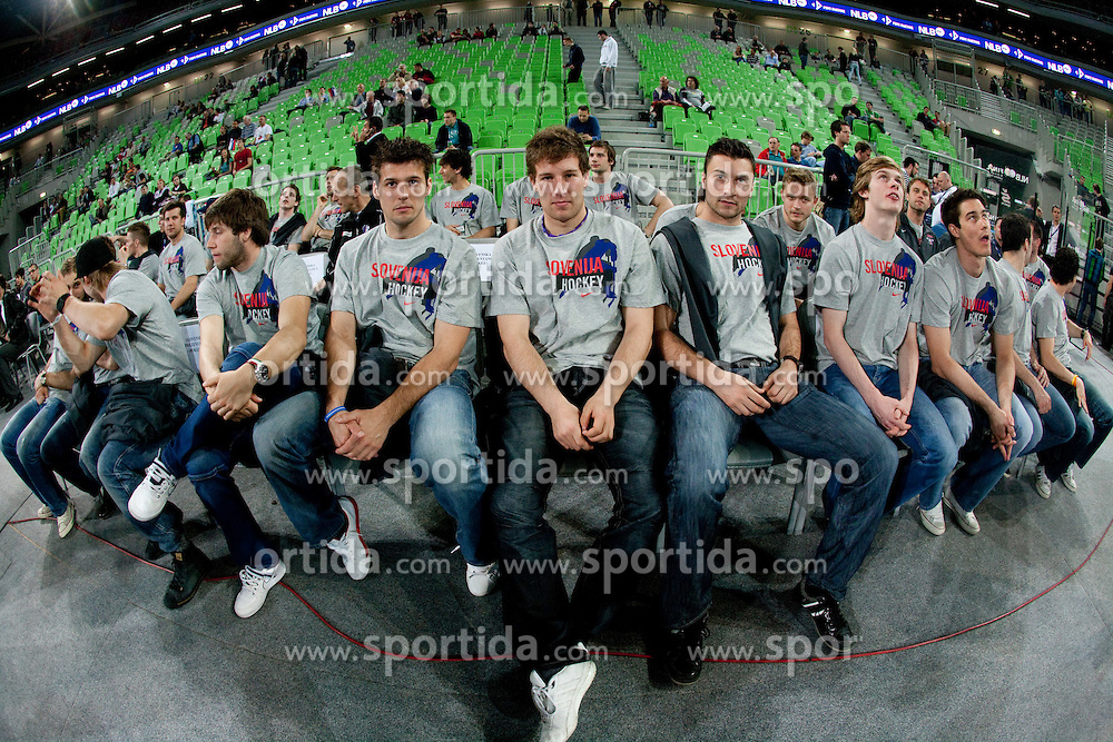 Slovenian Ice hockey national team during final match of Basketball NLB League at Final four tournament between KK Union Olimpija (SLO) and Partizan Belgrade (SRB), on April 21, 2011 in Arena Stozice, Ljubljana, Slovenia.  (Photo By Vid Ponikvar / Sportida.com)