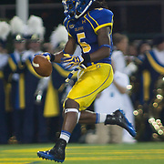 Delaware Wide receiver Rob Jones #5 celebrates in the end zone after scoring on a 9 yard Touch down reception during a Week 1 NCAA football game against West Chester. ..#15 Delaware defeated West Chester 41-21 in their home opener at Delaware Stadium Thursday Aug. 30, 2012 in Newark Delaware...Delaware will return home Sept. 8, 2012 at 3:30pm for a showdown with interstate Rival Delaware State in the Route 1 Rivalry Bowl at Delaware Stadium.
