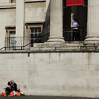 Confused bag man outside the National Gallery London, UK, 24/4/10