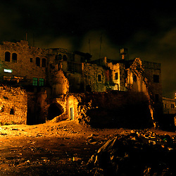 NABLUS, ISRAEL, JAN. 29,2003: A section of the old city of Nablus that was destroyed by Israeli helicopters is January 31, 2003 in the West Bank city of Nablus. A British non-governmental agency recently reported that Palestinians are currently living in a state of extreme, worsening poverty and fear for their future.  Almost three-quarters of Palestinians now live on less than US$2 a day Ñ below the United Nations  poverty line..(Ami Vitale/Getty Images)
