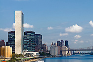 The United Nations Secretariat building designed by Le Corbusier. New York City, New York, East Side, East RIver, FDR Drive, Highway by East River, Style Modern