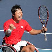 LONDON 2012 PARALYMPIC GAMES.. Pic shows Shingo Kunieda of Japan  who won  the men's Wheelchair Tennis gold medal  at the London 2012 Paralympic Games at Eton Manor