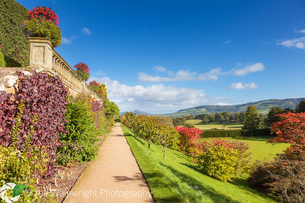From the lower terrace at Powis Castle, Welshpool, are views across the lawn to the nearby landscape and distant hills.