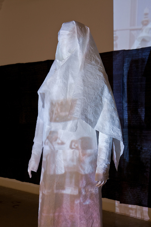 """Installation views. Master of Fine Arts exhibition by Sarah Noreen Hurtt: Finding Home. With the construction of garments, I bring into play the changeability of identity, the """"wearing"""" of an identity, identity at different points in a person's life and how varied and cyclical identity is for us."""
