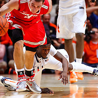 CHAMPAIGN, IL - JANUARY 05: D.J. Richardson #1 of the Illinois Fighting Illini watches as Aaron Craft #4 of the Ohio State Buckeyes reaches for a loose ball at Assembly Hall on January 5, 2013 in Champaign, Illinois. Ilinois defeated Ohio State 74-55. (Photo by Michael Hickey/Getty Images) *** Local Caption *** D.J. Richardson; Aaron Craft