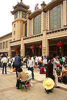 Beijing Railway Station opened in the 1950s, as can be seen from its architecture which merges traditional Chinese architecture with 50s design. . <br /> The traffic load of Beijing Railway Station has decreased somewhat with the opening of the Beijing West Railway Station in 1996. Still, it remains a busy railway station. Generally, trains for Manchuria, Mongolia, Shanghai, Nanjing,  Hangzhou depart from this station while the remainder depart from Beijing West.