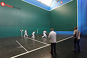 Men play Basque pelota on a Sunday morning in Bilbao's Casco Viejo (old town) - it is a game similar to squash but played with hands, not rackets.