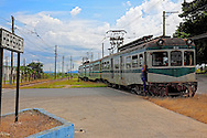 Electric train at the station in Hershey, Mayabeque, Cuba.