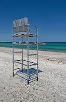 Lifeguard Tower on a beach in Sandwich, Cape Cod, Massachusetts