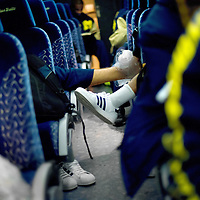 BLOOMINGTON, IN -- February 3, 2013 -- University of Michigan players are iced up in the team bus on the ride to Assembly Hall to face the Indiana University Hoosiers.  (PHOTO / CHIP LITHERLAND)