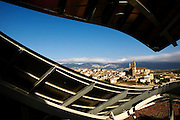 The town of Elciego seen from The Hotel Marques de Riscal, designed by architect Frank Gehry, part of Starwood's Luxury Collection, in Elciego,   Spain, Oct. 10, 2008. Photographer: Markel Rendondo/Fedephoto.