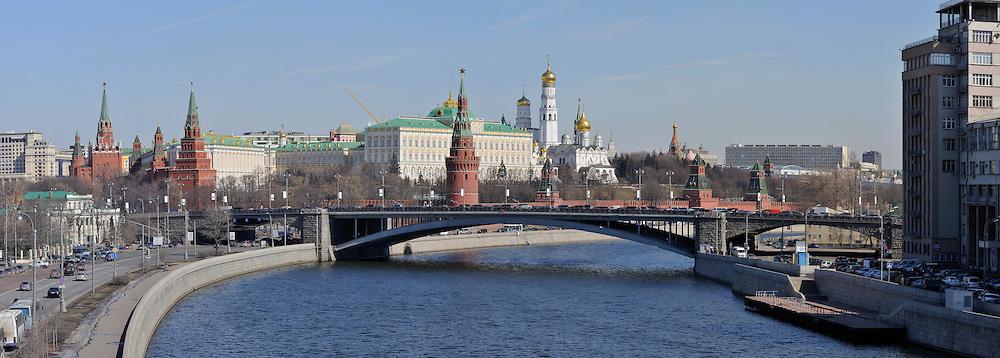 Kremlin and Bolshoy Kamenny Most, Moscow Russia