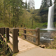 Lower South Falls in Silver Falls State Park of Oregon State. It is also the tallest free-falling drop at 177 feet in the State Park. Also, there is a trail that allows hikers to walk behind the actual waterfall.