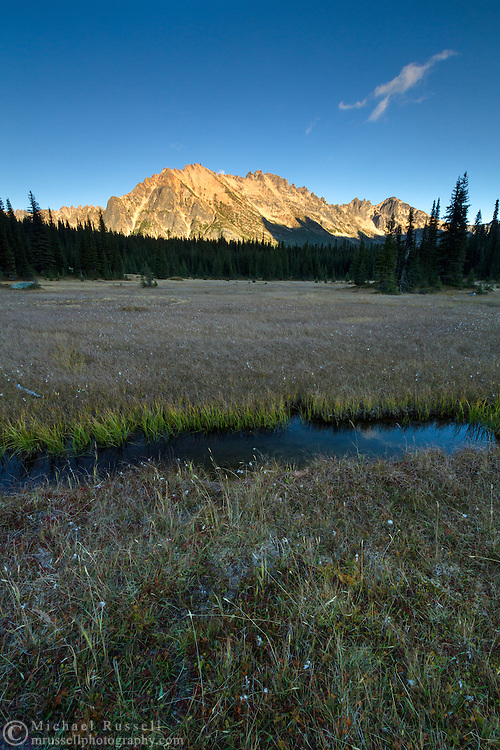 A small stream and Kangaroo Ridge from the meadows at Washington Pass in the North Cascades of the Okanogan-Wenatchee National Forest in Washington State, USA.