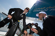 La Route des Princes. Valencia. Spain.<br /> The Oman Air Musandam MOD70. Pictures <br />  showing crew member Thomas LeBreton (FRA) onboard during training<br /> Credit: Lloyd Images