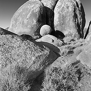Three Pillars And Round Stone - Alabama Hills CA - Infrared Black & White