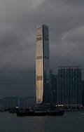 The International Commerce Centre tower (or ICC Tower) (Chinese:環球貿易廣場) seen from Central. The tower is on top of Kowloon MTR station. It was designed by  Kohn Pedersen Fox Associates (KPF) in association with Wong & Ouyang (HK) Ltd.