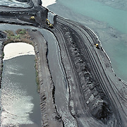 Aerial View: Coal waste (fly ash) and holding ponds from coal burning power plant, Hopewell Virginia.