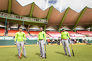 SAN JUAN, PUERTO RICO FEBRUARY2: Players  for Cuba takes batting practice before the game against the Mexico on February 2, 2015 in San Juan, Puerto Rico at Hiram Bithorn Stadium (Photo by Jean Fruth)