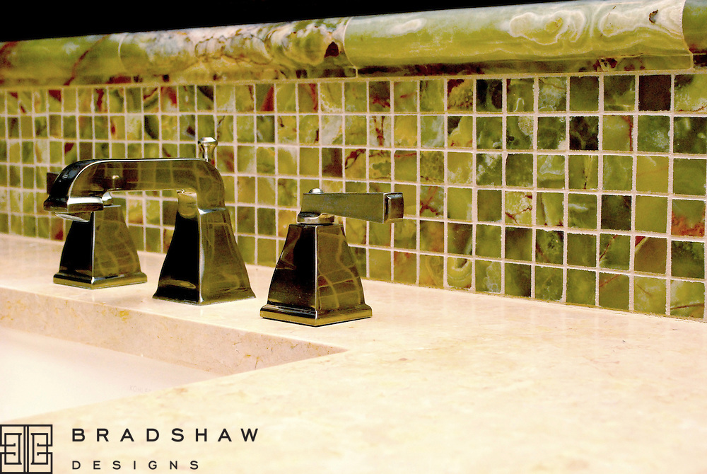 SHAVANO PARK AFTER - POLISHED NICKEL FAUCETS REFLECT EXQUISITE GREEN ONYX
