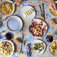 Suquet de peix - a traditional Catalonian dish of seafood cooked with potato. This version includes sea urchin. Llançà, Spain