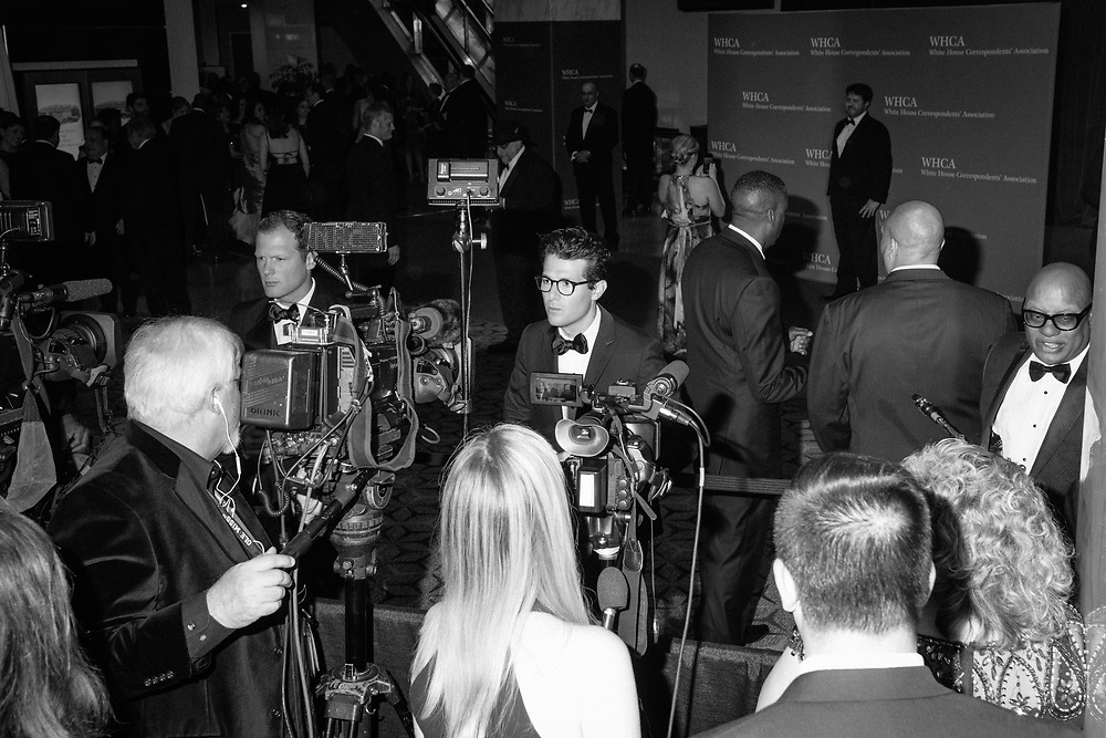 MSNBC correspondent Jacob Soboroff prepares to interview people on the red carpet during the White House Correspondents' Dinner in Washington, D.C. on April 29, 2017. CREDIT: Mark Kauzlarich for CNN