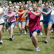 """The """"Pride of the Dutchmen Marching Band"""", from MOC-Floyd Valley High School, get in step at band camp on a hot August day.  """"The goal is for this year to be better that the year before,"""" said  Steve Connell, who was entering his 27th year as band director."""
