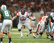 Ole Miss offensive lineman Josh Tatum (60) at the Louisiana Superdome in New Orleans, La. on Saturday, September 11, 2010. Ole Miss won 27-13.
