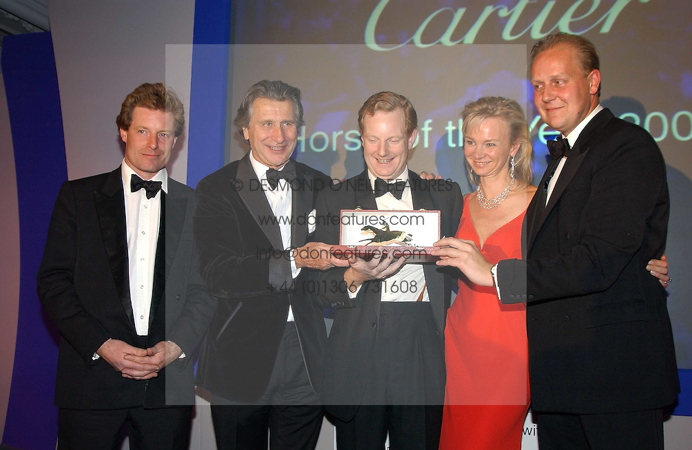 Left to right, the HON.PETER STANLEY, MR ARNAUD BAMBERGER, The EARL &amp; COUNTESS OF DERBY and EDWARD DUNLOP at the 2004 Cartier Racing Awards in association with the Daily Telegraph, held at the Four Seasons Hotel, London on 17th November 2004.<br /><br />NON EXCLUSIVE - WORLD RIGHTS